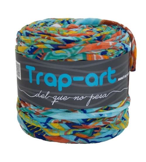 Estampado tonos naranja y azul Lightweight Fabric Yarn